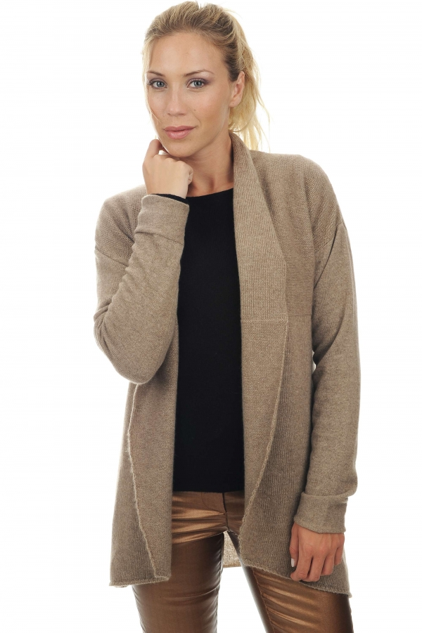 femme gilet agnes natural brown chine t4
