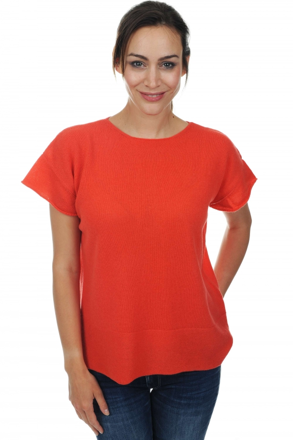 femme pull col rond bertille corail lumineux t1