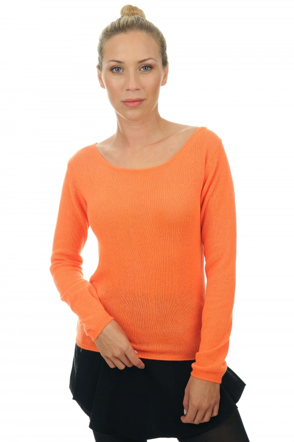 femme pull col rond caleen orange neon s