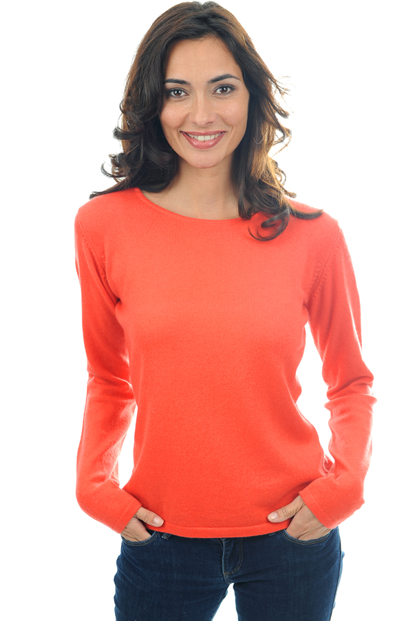 femme pull col rond solange corail lumineux l
