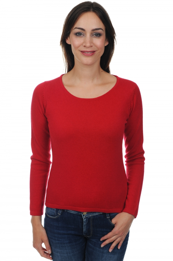 femme pull col rond solange rouge velours s