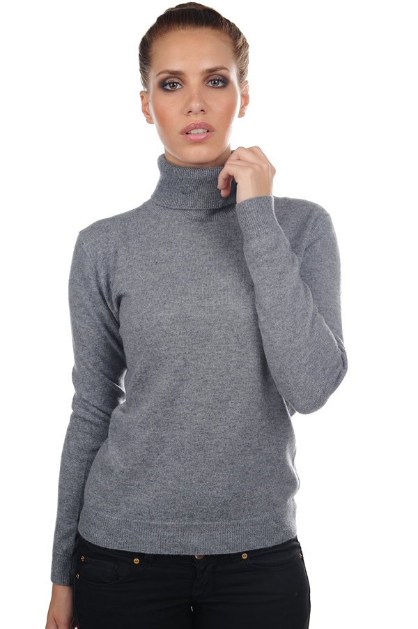 femme pull col roule mong froule gris chine s