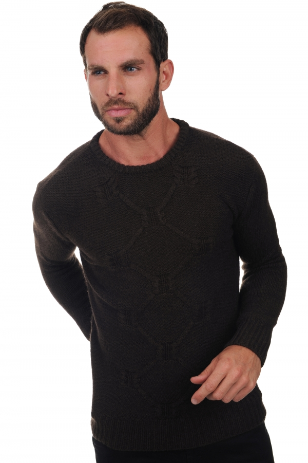 homme pull col rond lorenzo marron naturel 2xl