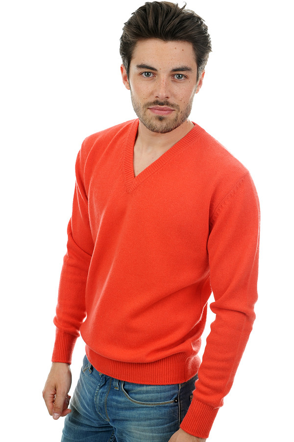 homme pull col v hippolyte 4 fils corail lumineux m