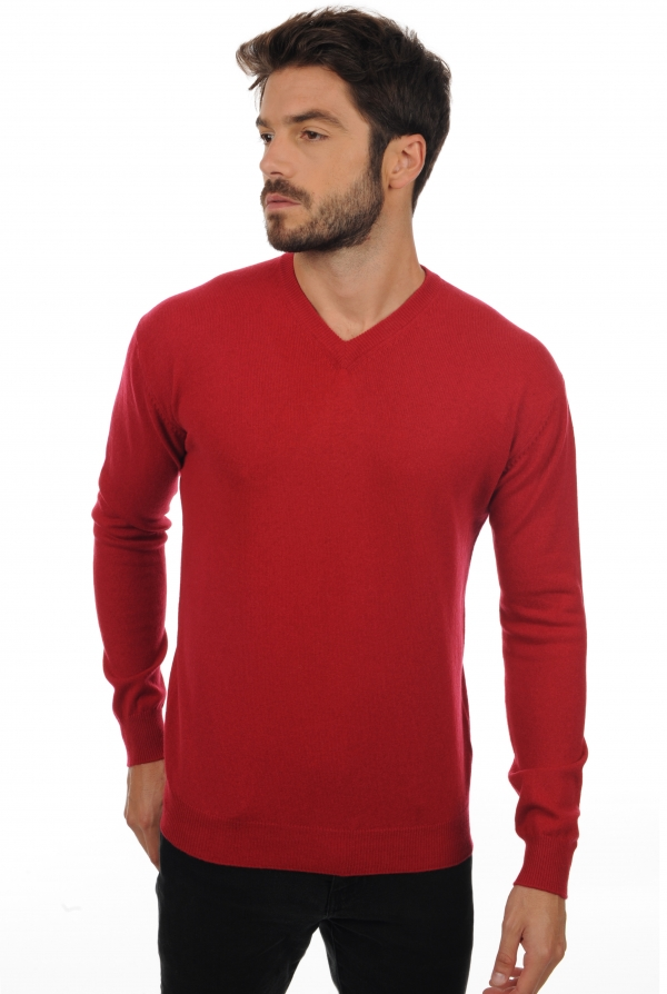 homme pull col v maddox rouge velours m