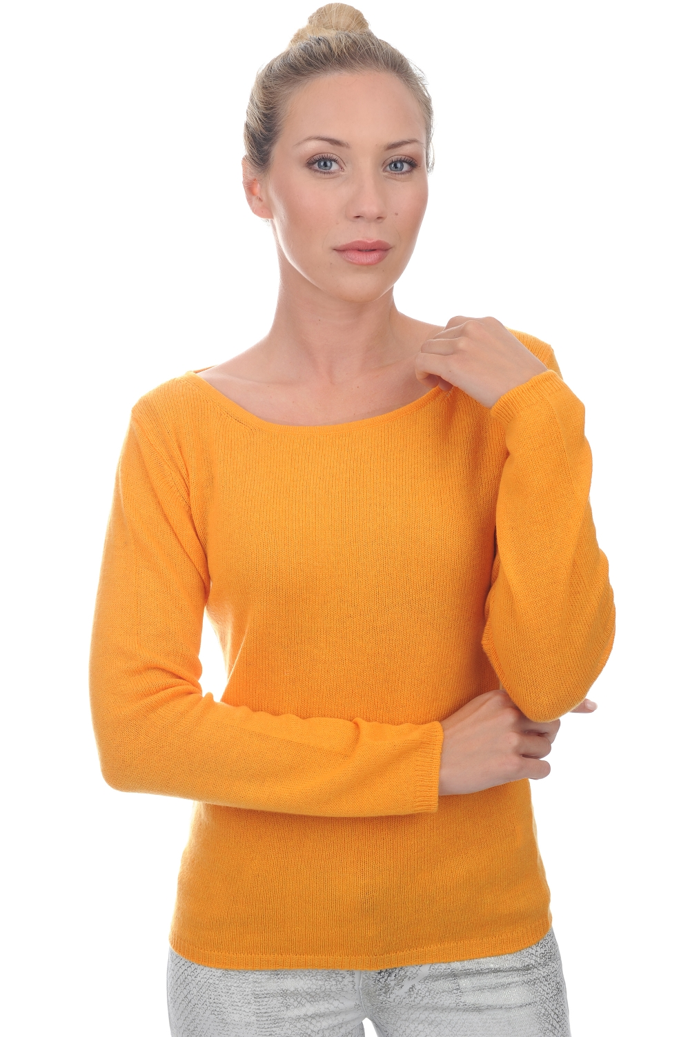 femme pull col rond adrielle tangerine s