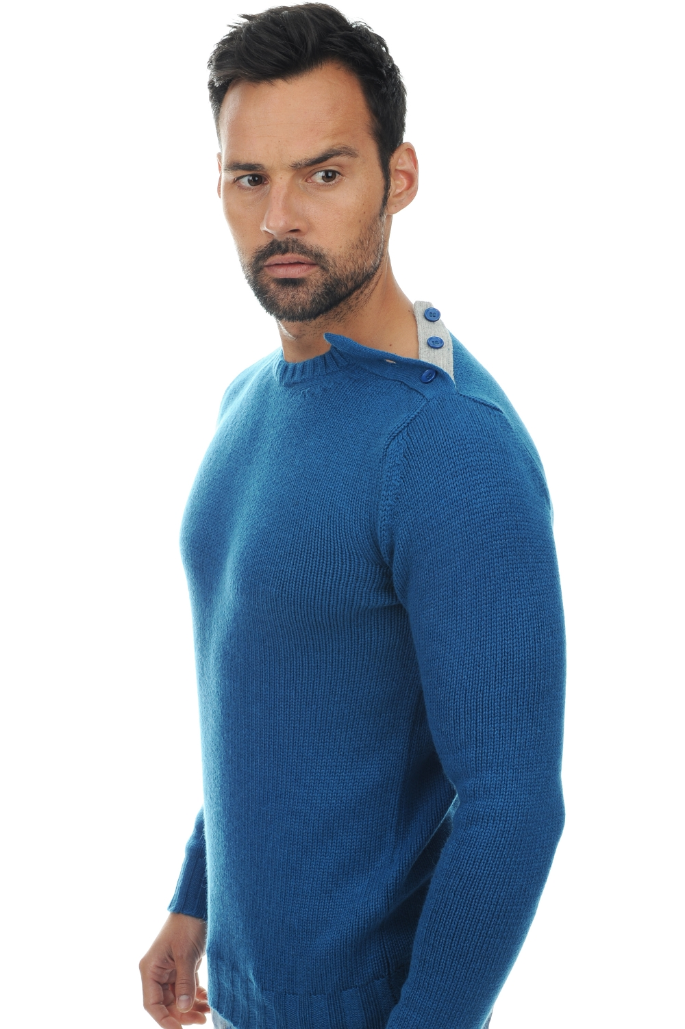 homme pull col rond casimir bleu canard flanelle l