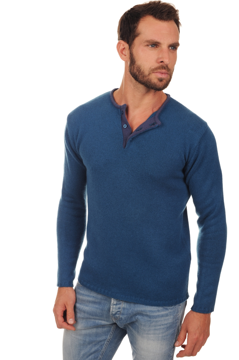 homme pull col rond cilian bleu canard mure 2xl