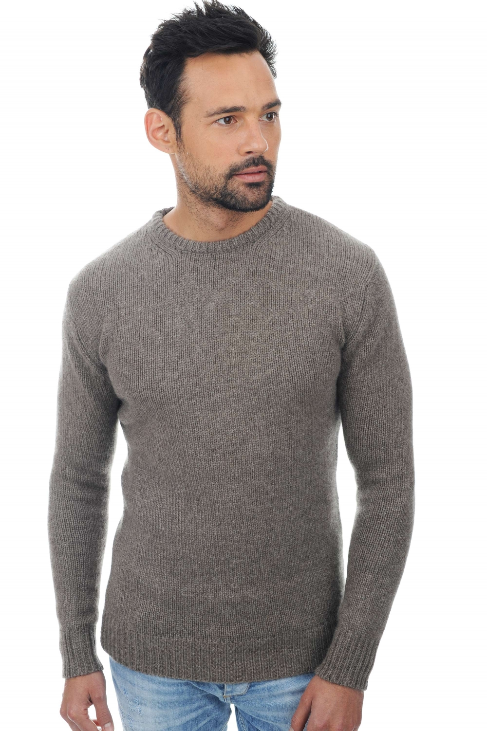 homme pull col rond ivan marmotte naturel xl