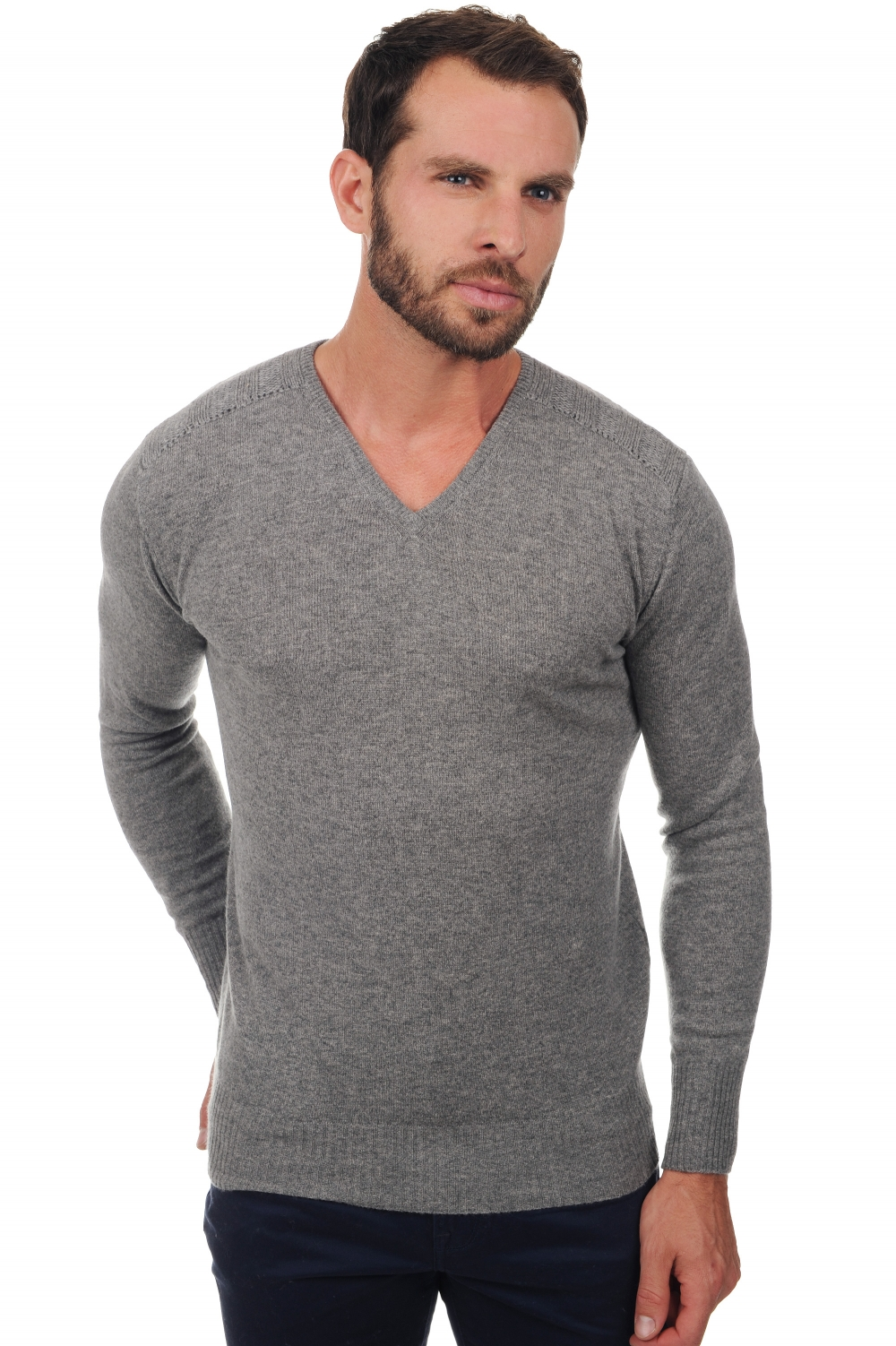 homme pull col v dustin gris chine m