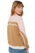 Cachemire pull femme col rond roselili camel   blanc casse   rose pale t1