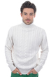 cachemire pull homme col roule lucas blanc casse m