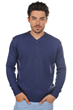 cachemire pull homme col v atman bleu male m