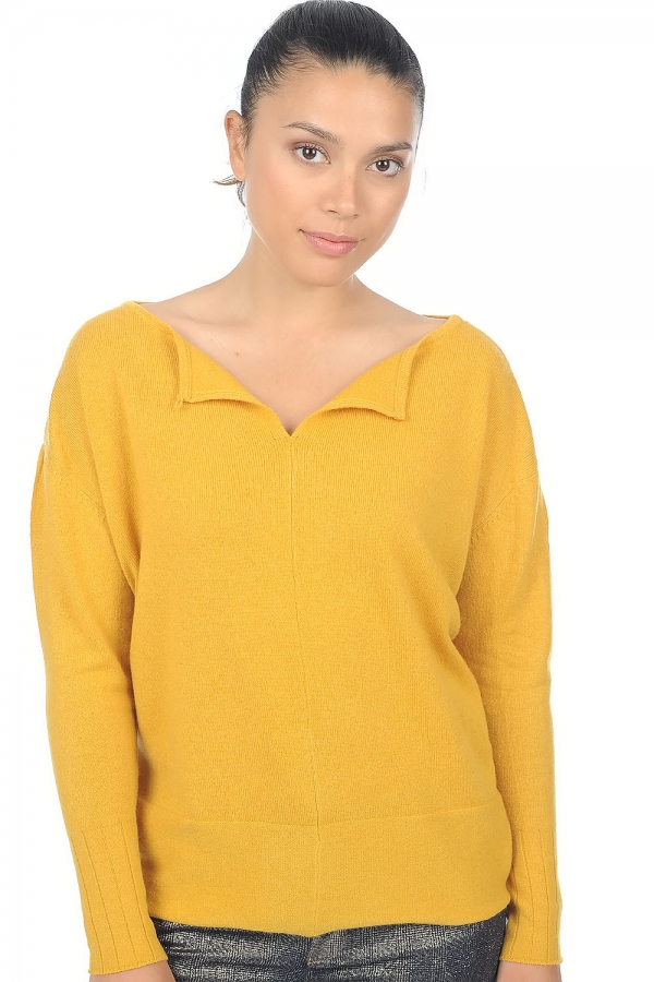 Cachemire pull femme col rond hoela moutarde t1