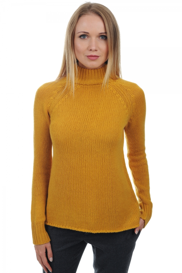 Cachemire pull femme col roule louisa moutarde m