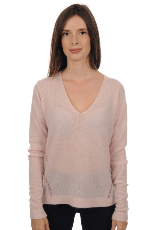 Cachemire pull femme col v likapo rose pale   natural brown chine m