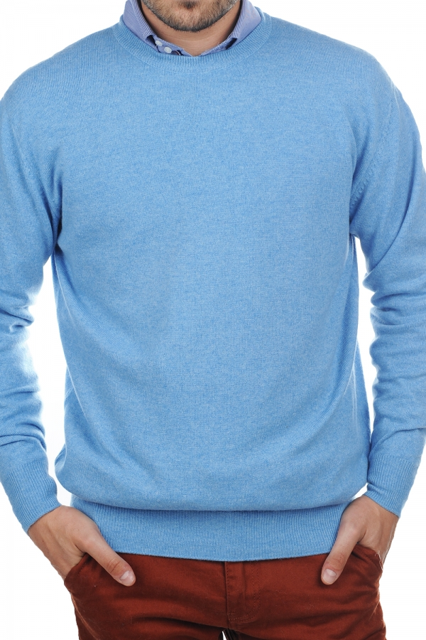 Cachemire pull homme col rond nestor bleu azur chine l