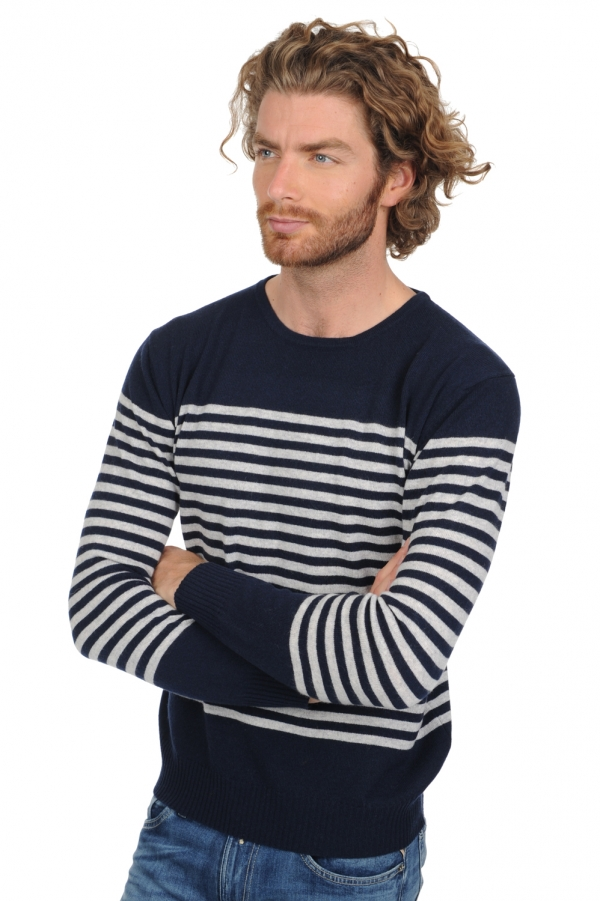 Cachemire pull homme col rond randy marine fonce flanelle chine m