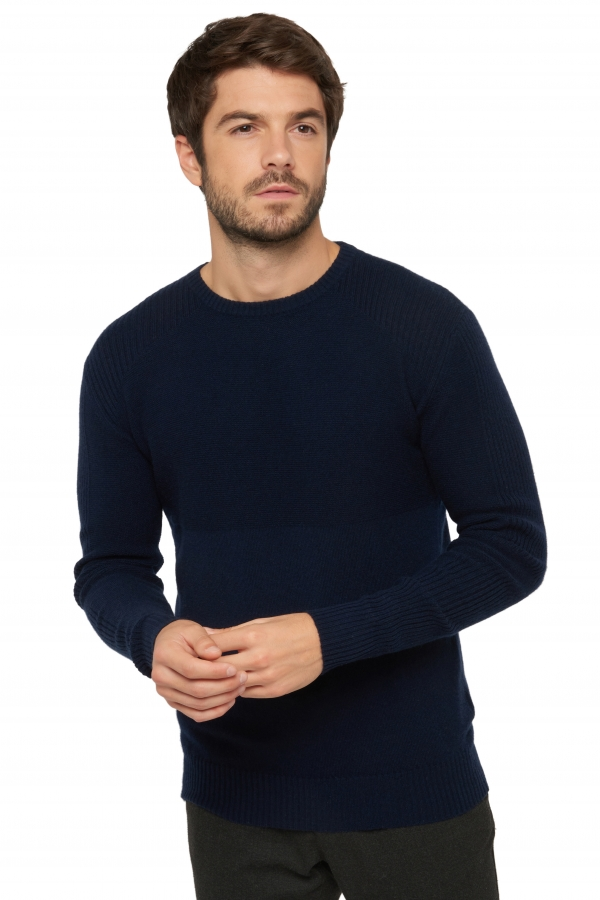 Cachemire pull homme col rond theon marine fonce m