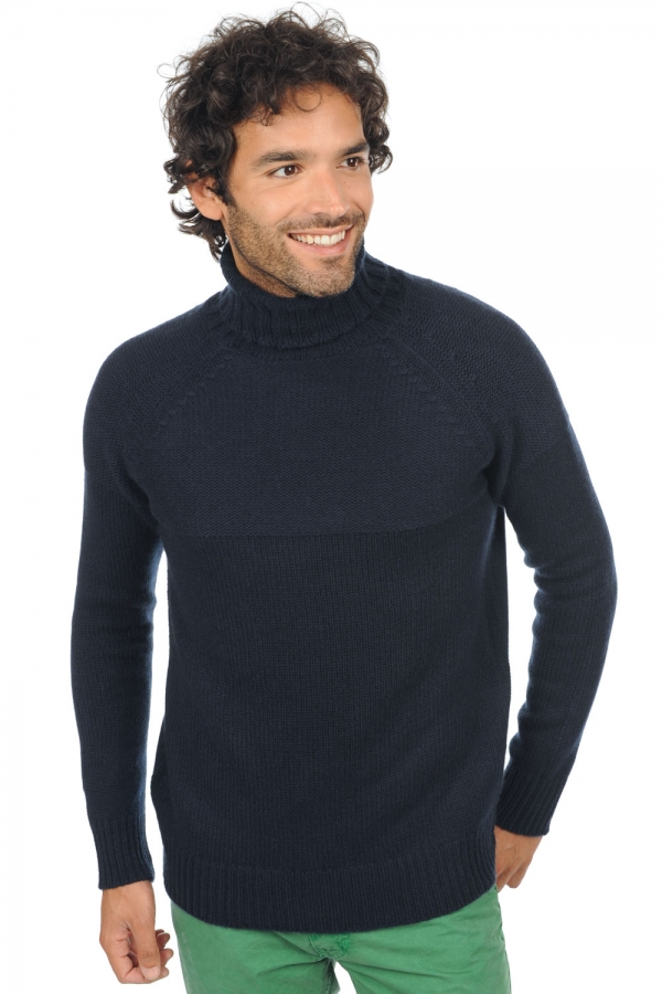 Cachemire pull homme col roule mamadou marine fonce m