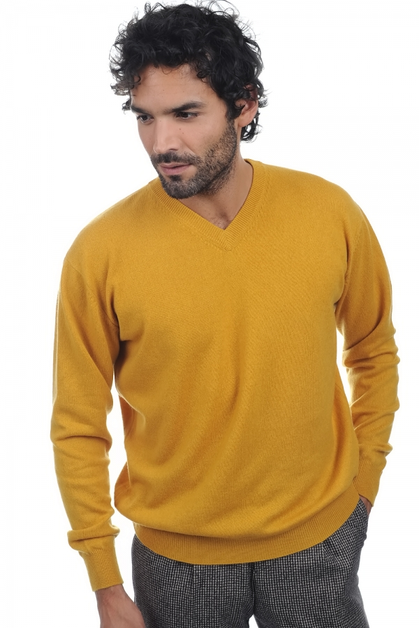 Cachemire pull homme col v gaspard moutarde m