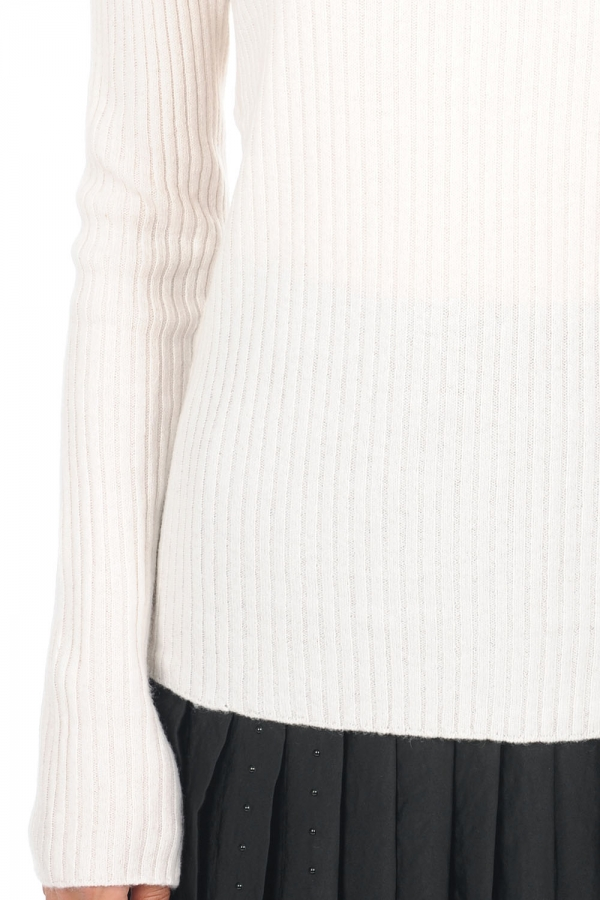 cachemire pull femme col rond daffiny blanc casse l