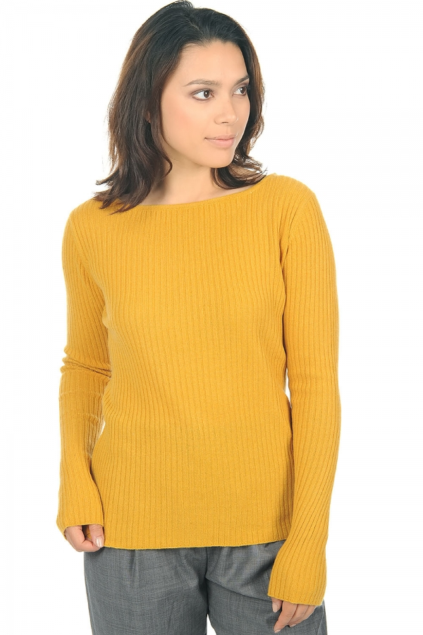 cachemire pull femme col rond daffiny moutarde s