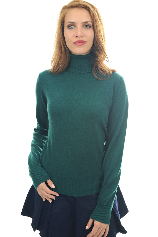 cachemire pull femme col roule lili vert anglais 4xl