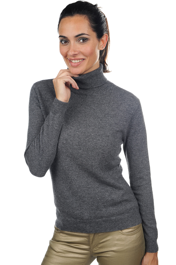 cachemire pull femme col roule mong froule anthracite chine s