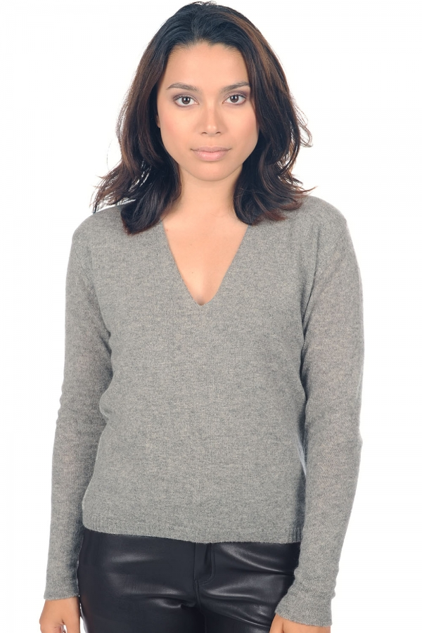 cachemire pull femme col v janice gris chine l