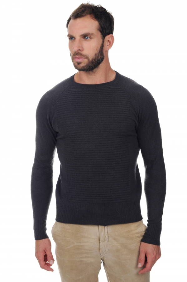 cachemire pull homme col rond bing anthracite m