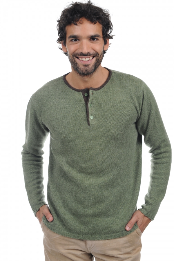 cachemire pull homme col rond cilian vert chine marron chine m