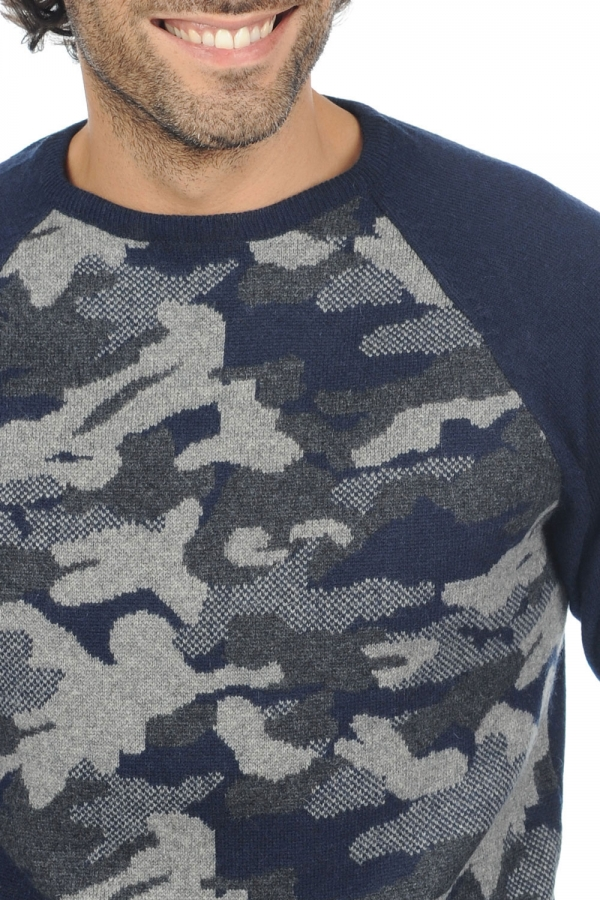 cachemire pull homme col rond isaac marine fonce l