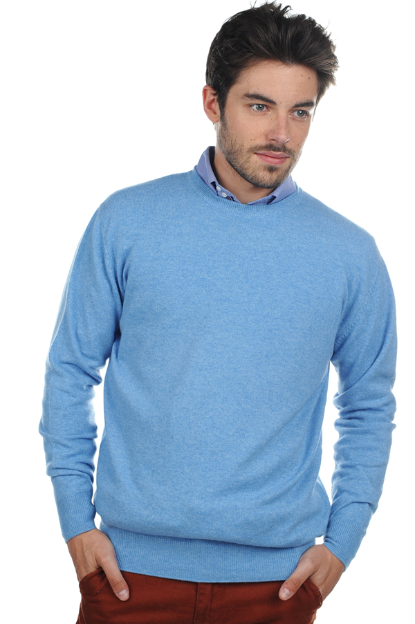 cachemire pull homme col rond nestor bleu azur chine m