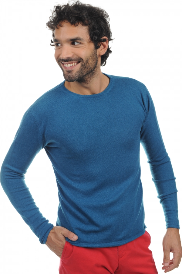 cachemire pull homme col rond nicholas bleu canard s
