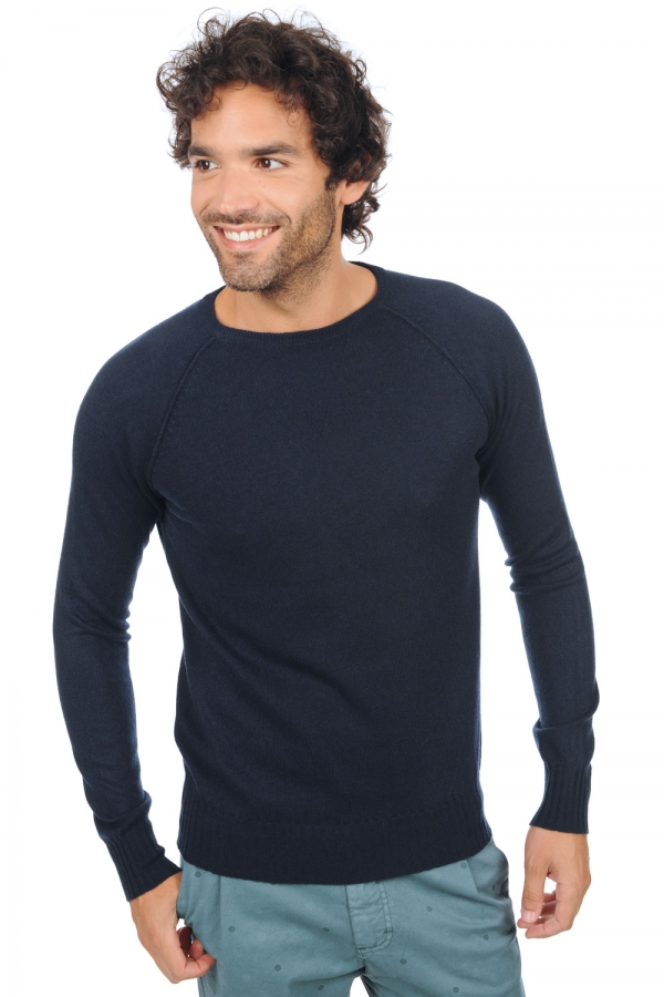 cachemire pull homme col rond youcef marine fonce m