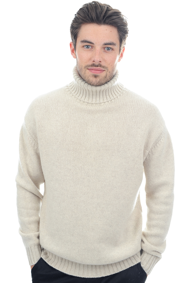 cachemire pull homme col roule achille ecru chine 2xl