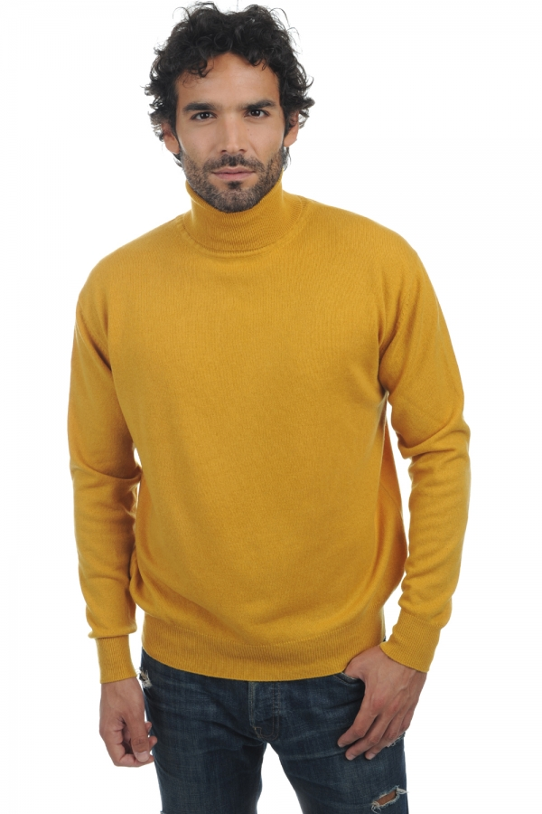 cachemire pull homme col roule edgar moutarde m
