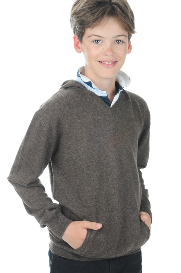 cachemire pull homme col v cloclo boy marron chine 6 ans