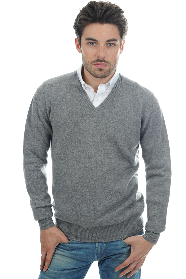 cachemire pull homme col v hippolyte 4 fils gris chine m