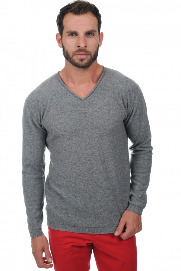 cachemire pull homme col v walt gris chine xs