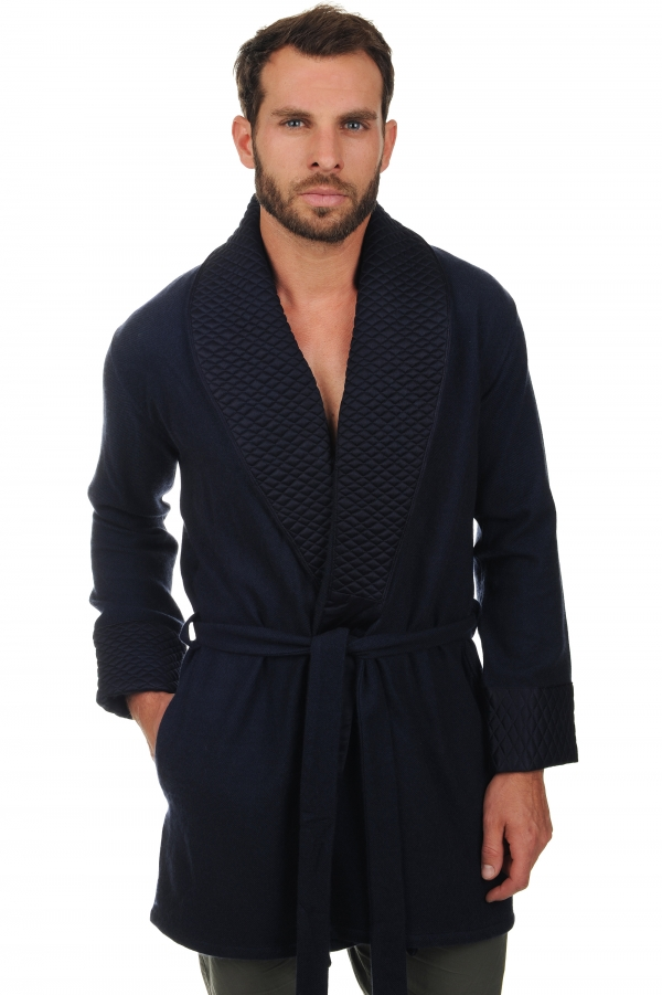 cachemire robe chambre homme vatali marine fonce t1