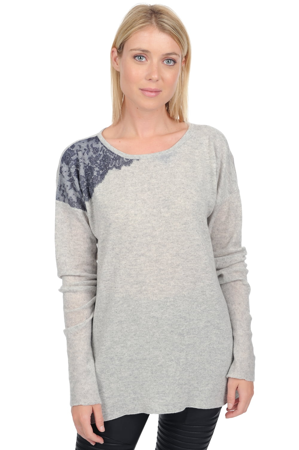 Cachemire pull femme col rond catelyn flanelle chine t1