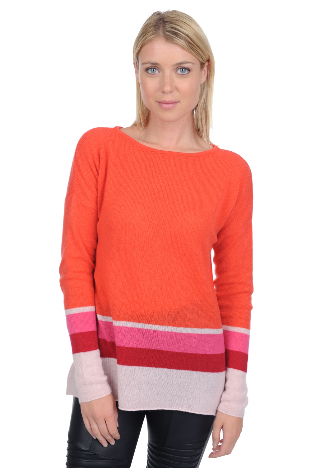 Cachemire pull femme col rond lysa corail lumineux xs