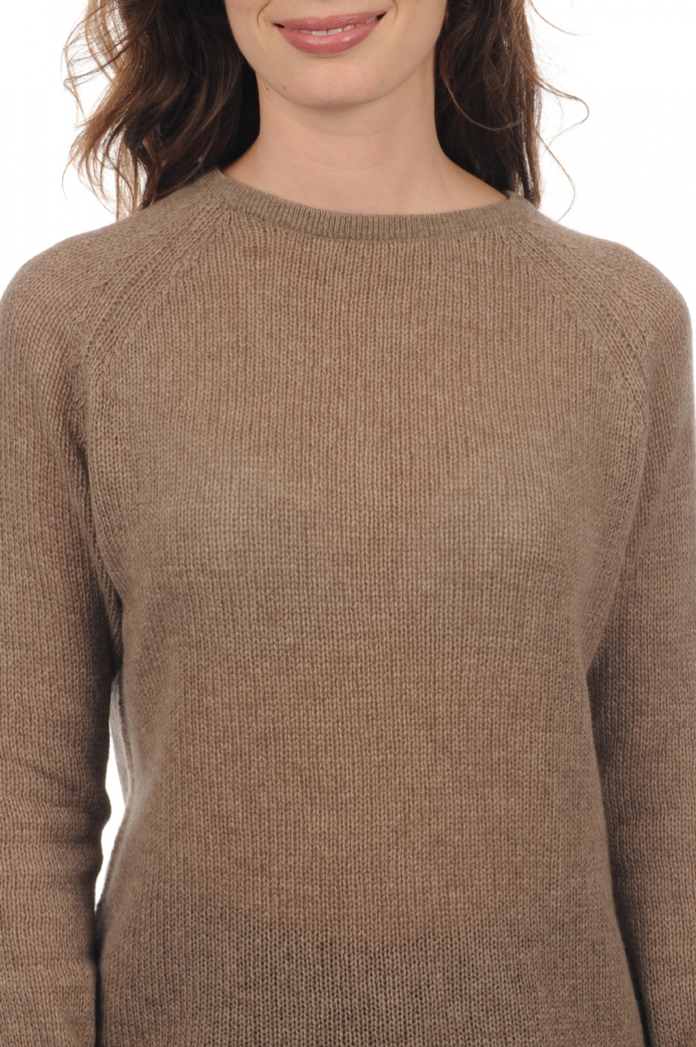 Cachemire pull femme col rond maryama natural brown chine xs