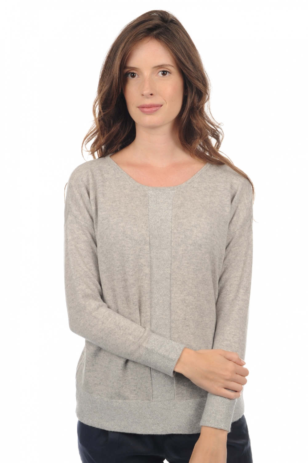 Cachemire pull femme col rond nymeria flanelle chine t1