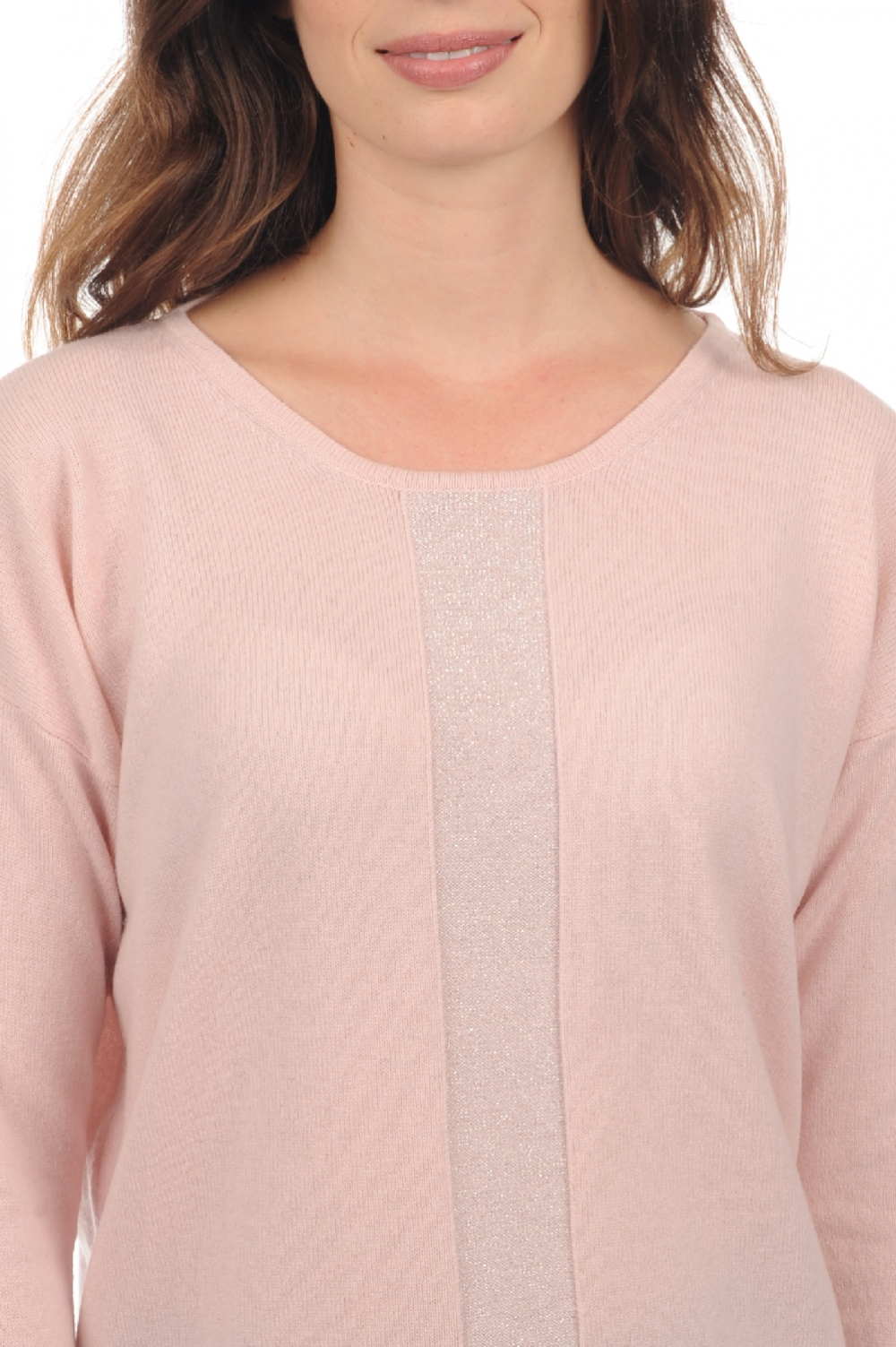 Cachemire pull femme col rond nymeria rose pale t1