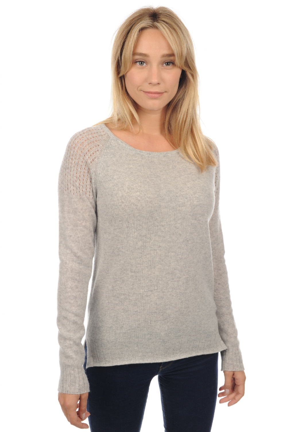 Cachemire pull femme col rond oona flanelle chine s