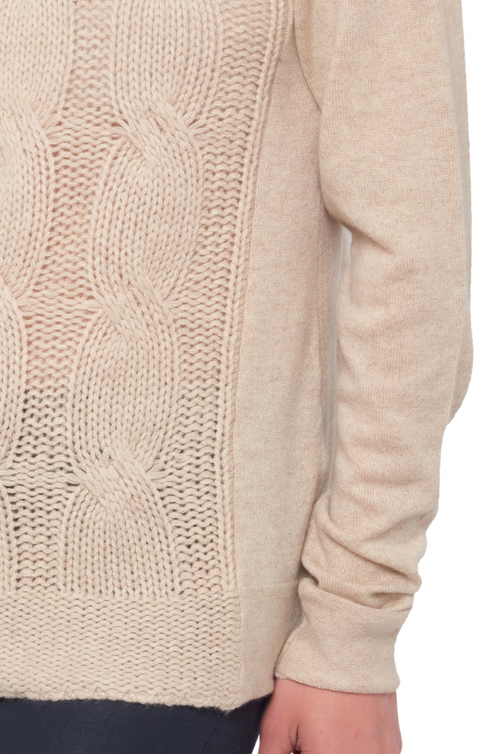 Cachemire pull femme col rond shae beige intemporel s