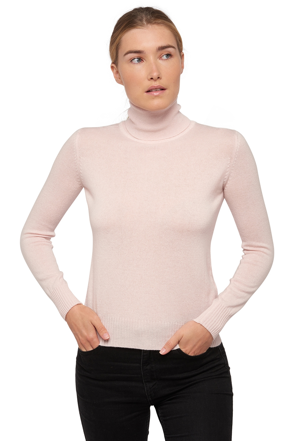 Cachemire pull femme col roule lili rose pale 4xl